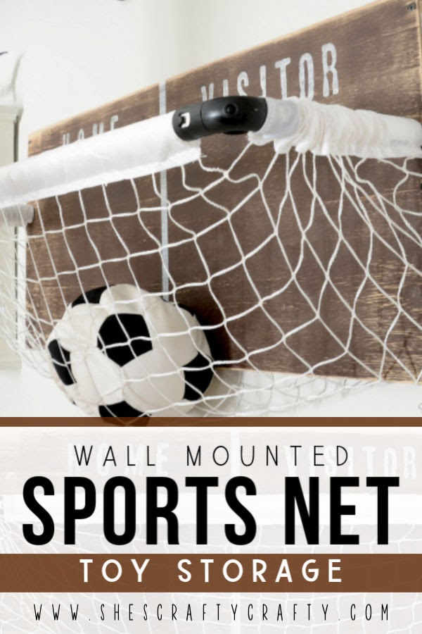 wall mounted Sports Net Toy Storage - use this great DIY project to store toys in a child's room