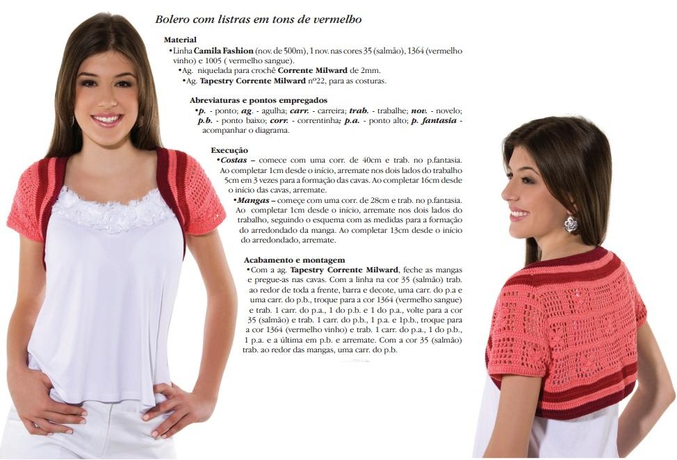 Blusa Crochê de Grampo com Linha Camila Fashion
