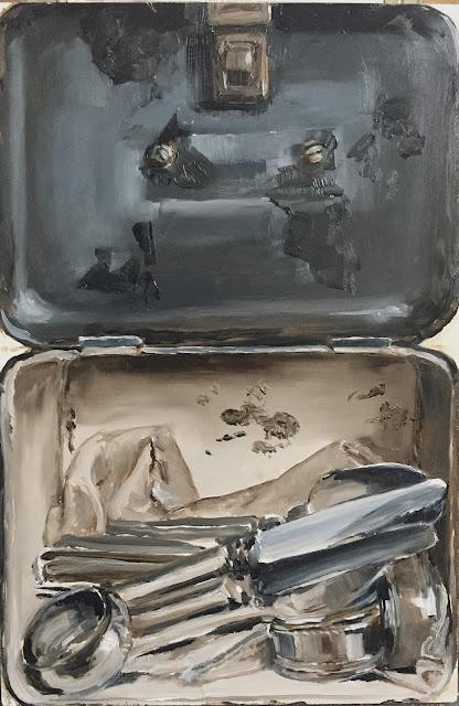 Trompe l'oeil silver oil painting by Philine van der Vegte