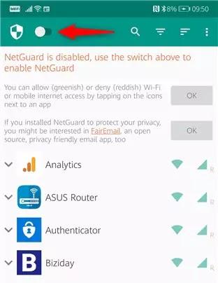 تمكين NetGuard