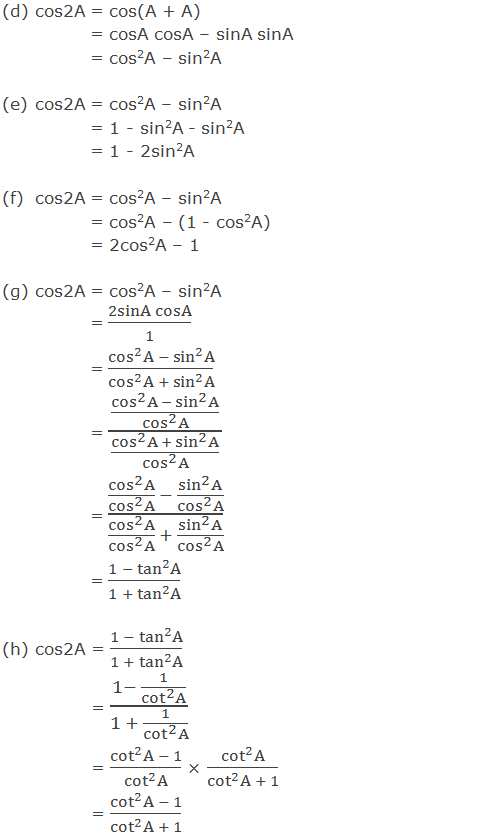 Trigonometric ratios of cos2A in terms of A