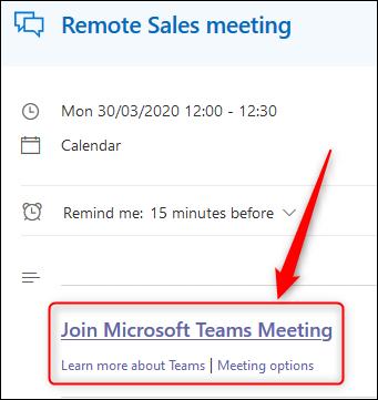 حدث في تقويم Outlook Online يعرض ارتباط اجتماع Teams.