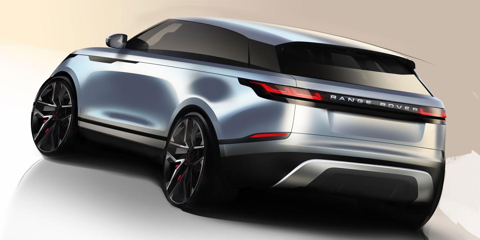 Range Rover Velar sketch rear quarter view in blue