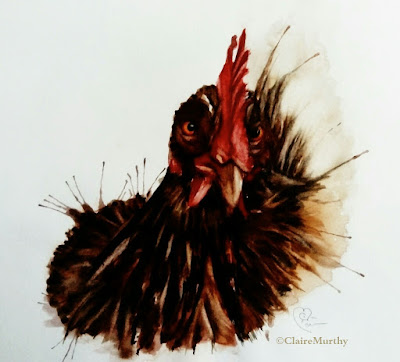 Watercolour painting of a hen. Watercolour classes and workshops.