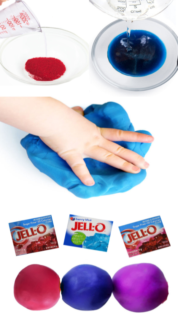Make play dough for kids using jello!  This homemade recipe requires no cooking and is taste-safe, making it great for all ages! #edibleplaydough #jello #jellorecipes #jelloplaydoughrecipe #jelloplaydoughnocook #jellocraftsforkids #jellohacks #jellouses #playdoughrecipe #playdough #playdoughnocook #playdoughactivities #tastesafeplaydough #growingajeweledrose