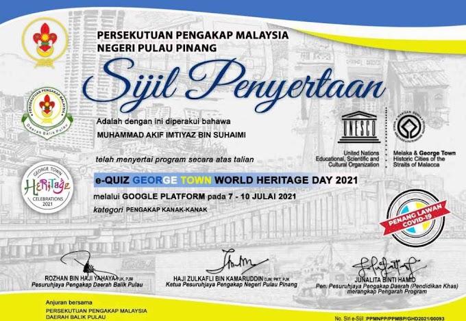 Sijil Penyertaan Kuiz Online Georgetown World Heritage Day