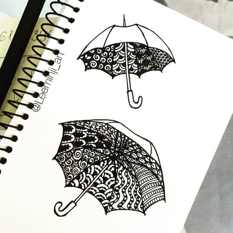 06-Zentangle-Umbrellas-Lidiia-Varichenko-www-designstack-co