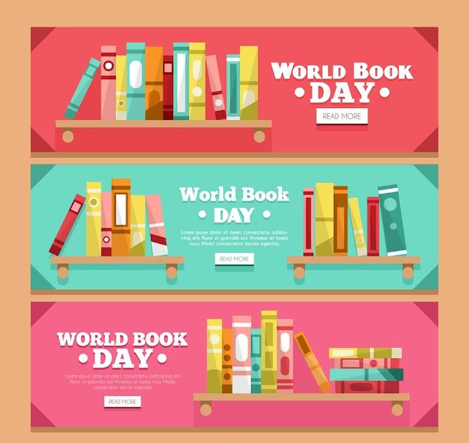 Colorful Books (Books Day) Bookshelf Books banner free vector illustration