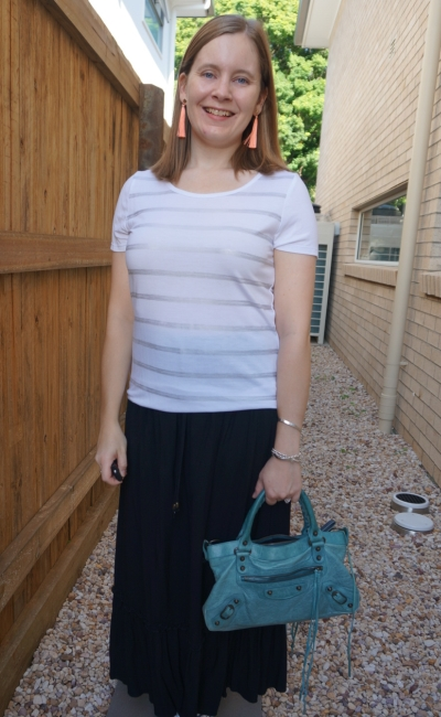 foil stripe tee with black maxi skirt bright accessories | awayfromblue