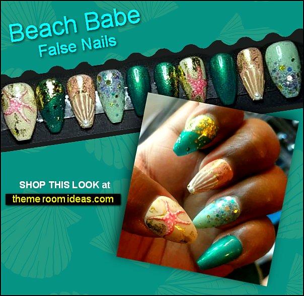 Beach Babe Press on Nails Beach Nails  Starfish Nails Seashell Nails Vacation Nails False Nails