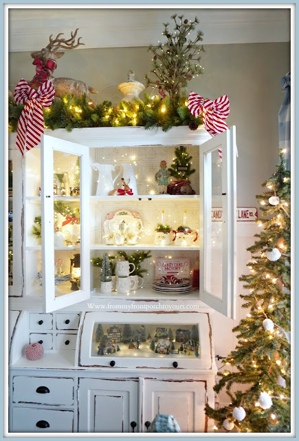 French- Farmhouse -Cottage- White -Dining Room -Cabinet-Christmas-Vignettes-Shelves-From My Front Porch To Yours