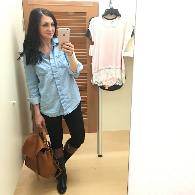 Dressing room stories, leather backpack, kohls lace top,