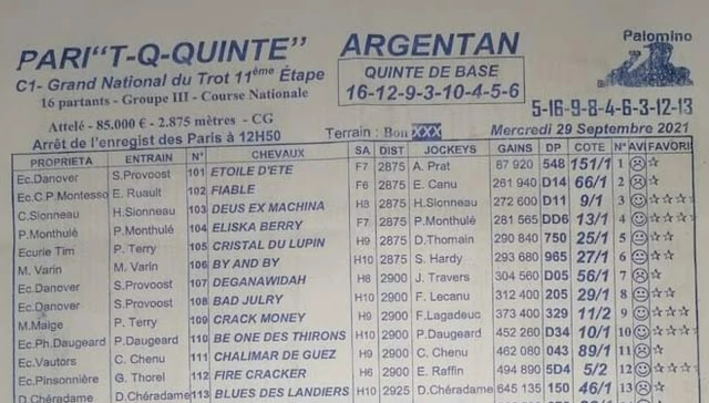 programme quinté Pronostic quinté Mercredi 29/09/2021