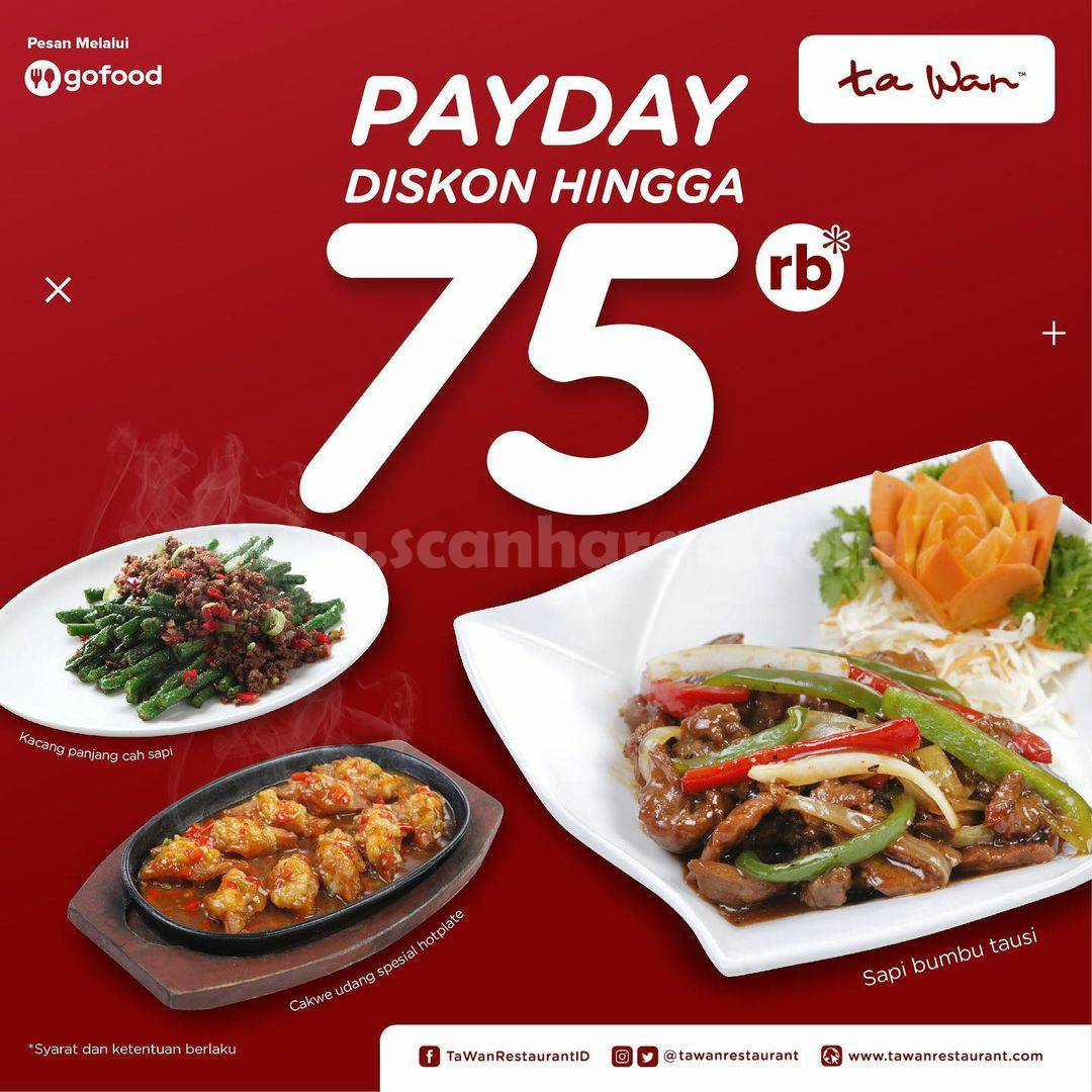 TA WAN Promo PAYDAY – DISKON Rp. 75.000 via aplikasi GOFOOD