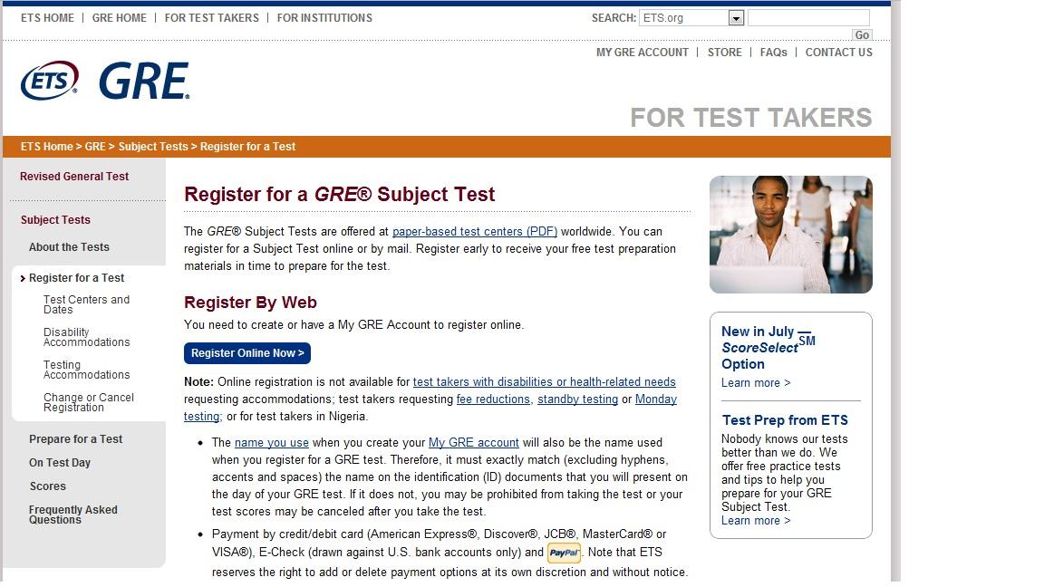 GRE sub cs 報名流程