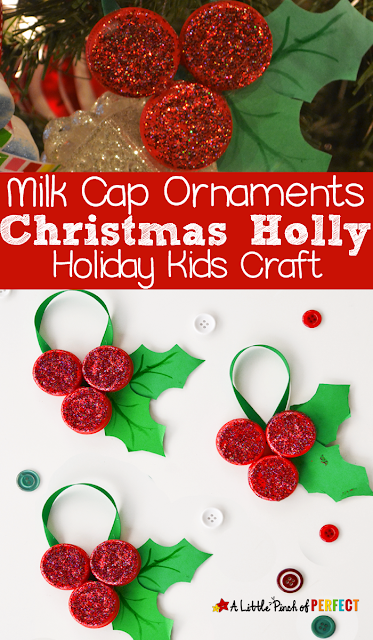 sparkly red and green milk cap homemade christmas tree ornaments