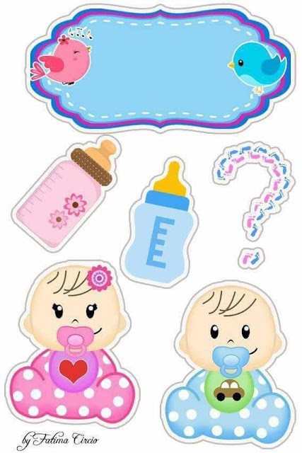 Gender Reveal  Free Printable Cake Toppers.