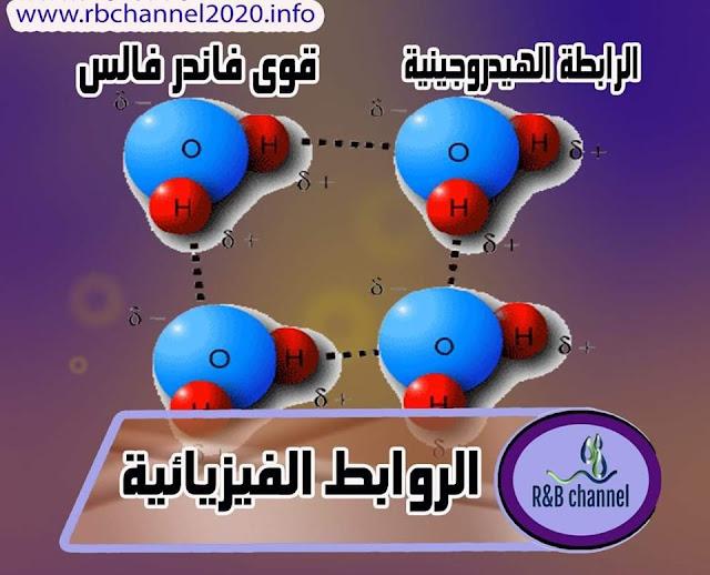الروابط الفيزيائية - الرابطة الهيدروجينية - قوى فاندر فالس