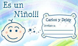 Invitación Baby Shower en color Celeste Espacial