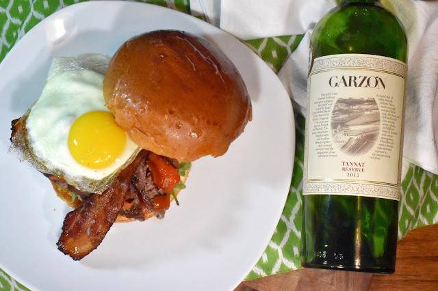 Bodega Garzón Tannat with a Chivito Sandwich.