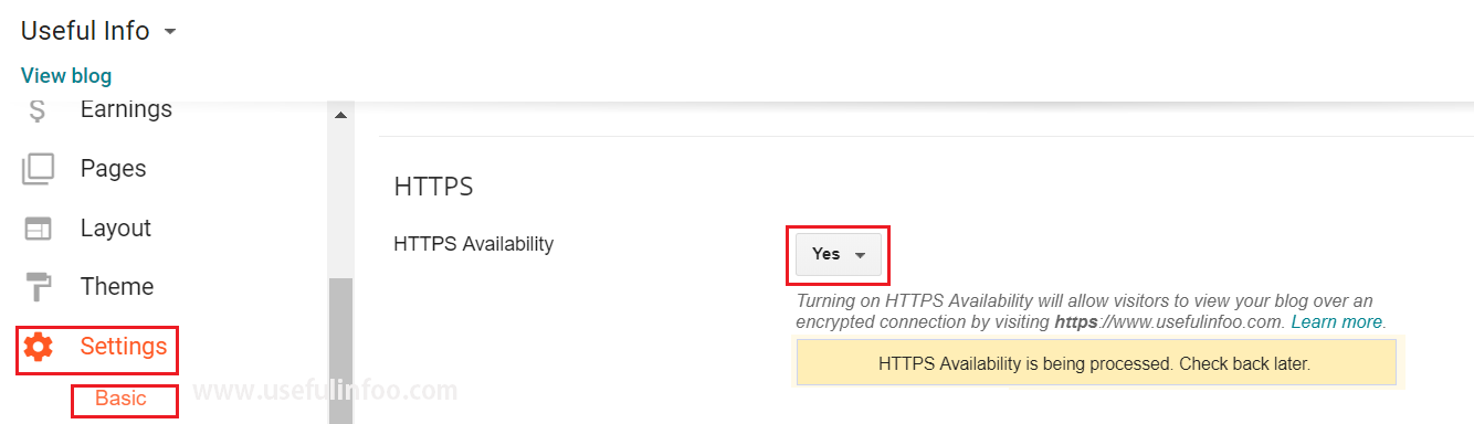 HTTPS availability for blogger custom domain