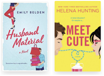 Cover images of Husband Material and Meet Cute. Both are illustrated with bold colors.