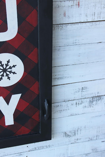 A Vintage Cabinet Door Buffalo Check Christmas JOY Sign #oldsignstencils #stenciling #rusticChristmas #buffalocheck #Christmassign #garagesalefind #upcycle #cabinetdoor