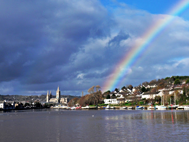 Truro Cathedral, Cornwall with a rainbow