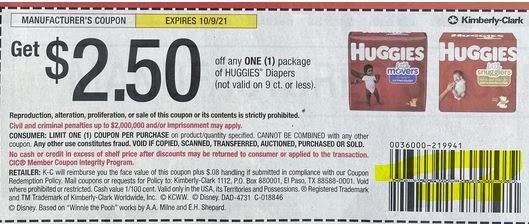 "$2.50/1 Huggies Coupon from ""SMARTSOURCE"" insert week of 9/12/21."