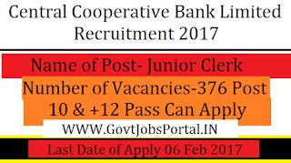 Central Co-operative Bank Recruitment for 376 Senior Clerk Posts 2017