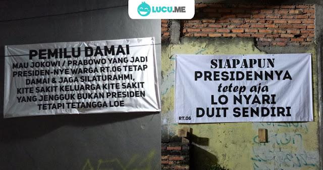 Spanduk Lucu 'Kampanye Pilpres Damai' Ini Nyindir Abis