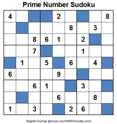 Prime Number Sudoku (Fun With Sudoku #28)
