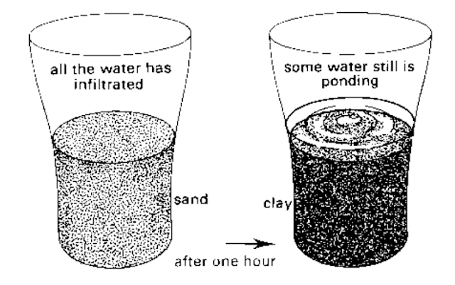 infiltration rates between a clay soil sandy