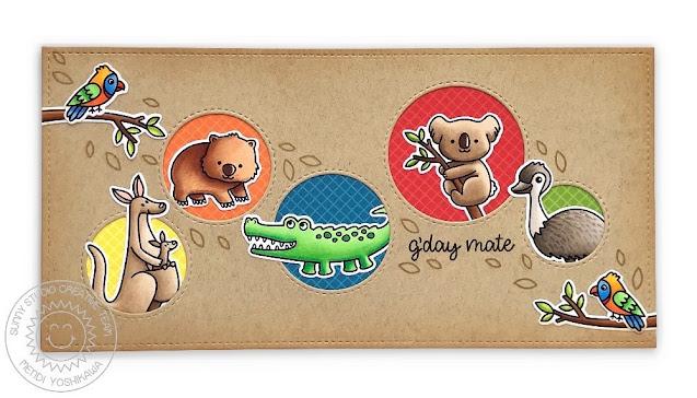 Sunny Studio: Koala, Kangaroo, Wombat, Crocodile & Emu Card (using Outback Critters Stamps, Staggered Circles Die & Retro Petals Die)