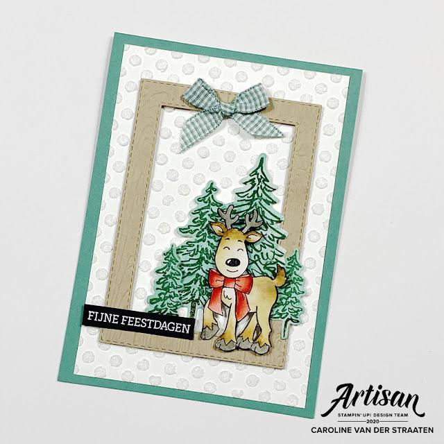 Stampin' Up! In the Pines, Warm & Toasty, Caro's Kaartjes, Artisan Designteam, kerstkaart