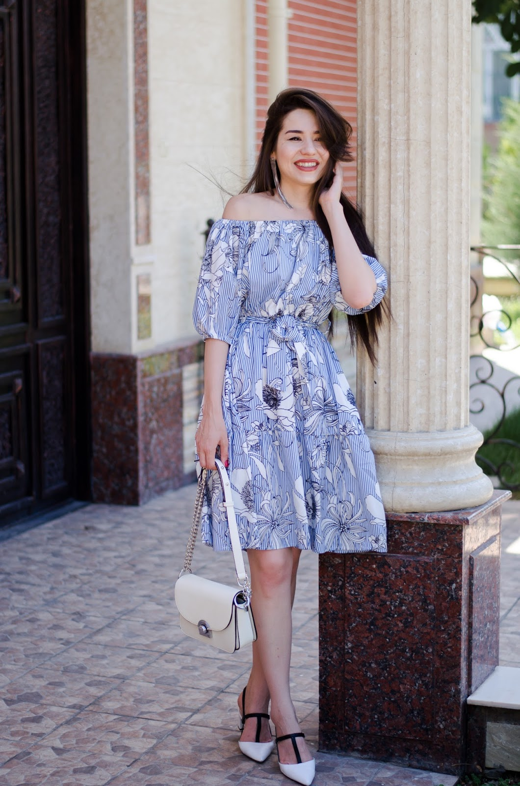 fashion blogger diyorasnotes diyora beta fashion style outfit street style off shoulder dress midi dress zaful white bag white heeled shoes casual outfit