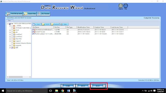 seleccionar los archivos a recuperar