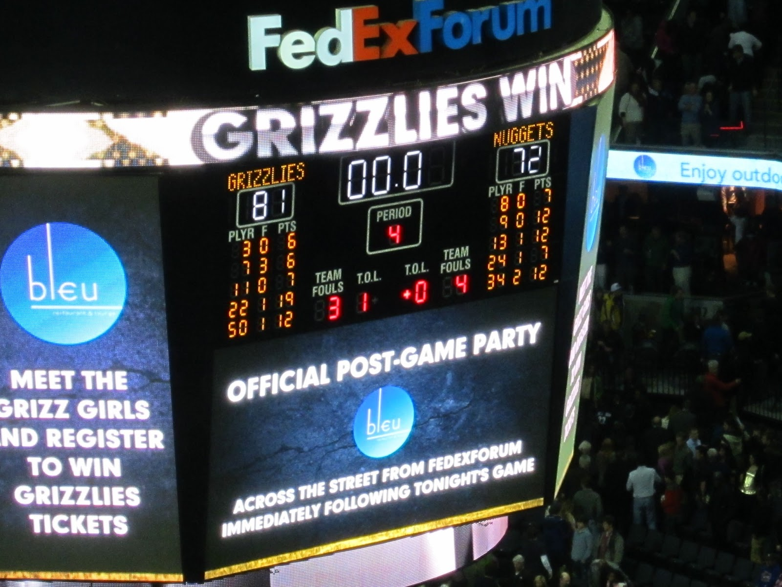 Dustinations: Memphis Part 2 = Grizzlies NBA game
