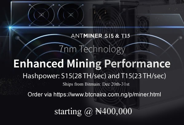 Bitmain Powerful Antminer S15(28TH/sec) and T15(23TH/sec) now available for purchase