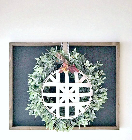 Chalkboard frame with wreath and tobacco basket pumpkin