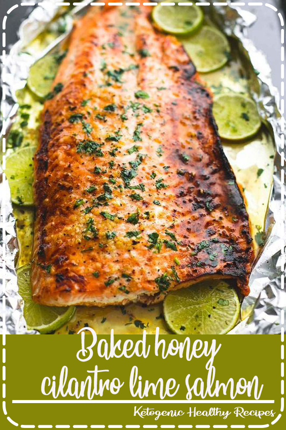 Baked honey cilantro lime salmon in foil is cooked to tender, flaky perfection in just 30 minutes with a flavorful garlic and honey lime glaze.  #healthyrecipes #recipes #easyrecipes