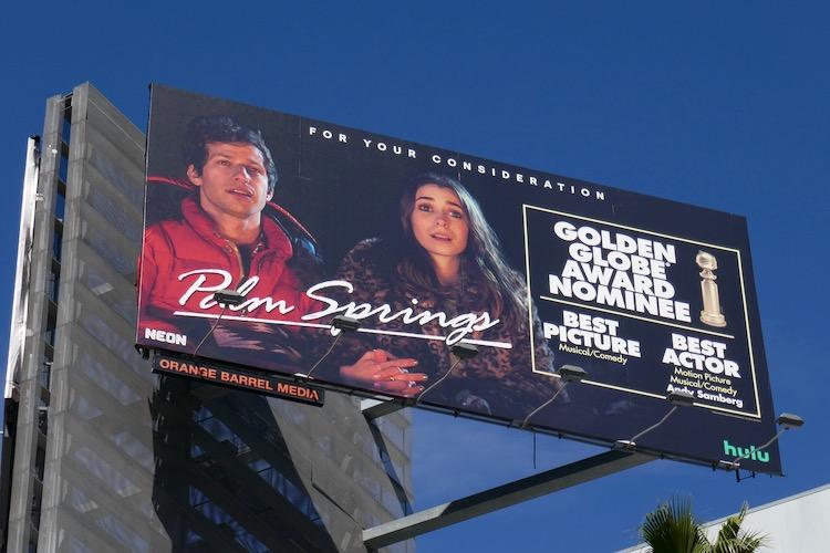 Palm Springs Golden Globe nominee billboard