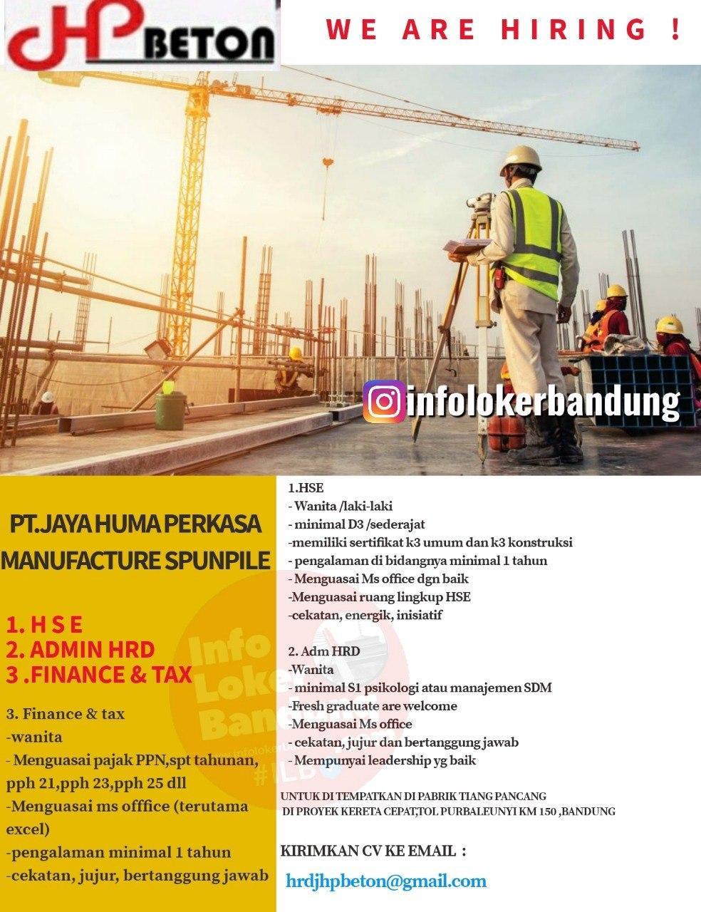 Lowongan Kerja HSE, Admin HRD, Finance & Tax JHP Beton Bandung Juli 2020