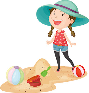 Clipart Image of a Little Girl With Beach Toys