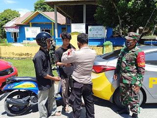 Dukung PPKM Mikro, TNI - Polri Dan Unsur Forkopincam Bagikan Masker