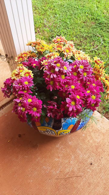 A memorial planter filled with flowers