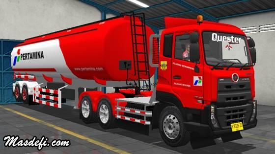 livery truck ud quester trailer tangki pertamina merah