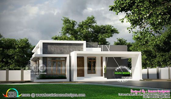 Single floor flat roof style villa rendering