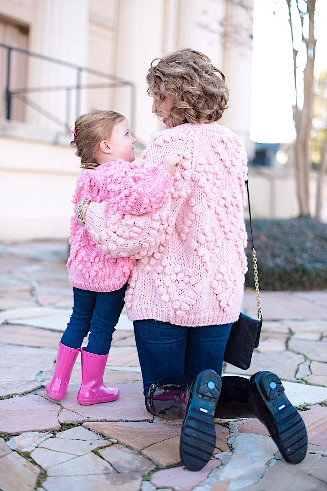 Mommy and Me Matching Heart Cardigans - All details can be found on Something Delightful Blog
