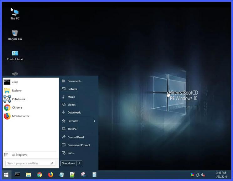 Hiren's BootCD PE  :  Κορυφαία, δωρεάν εφαρμογή συντήρησης και επιδιόρθωσης των Windows